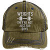 Weights They're Not Just for Boys Distressed Trucker Cap Apparel CustomCat 6990 Distressed Unstructured Trucker Cap Brown/Navy One Size