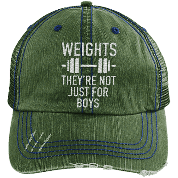 Weights They're Not Just for Boys Distressed Trucker Cap Apparel CustomCat 6990 Distressed Unstructured Trucker Cap Dark Green/Navy One Size