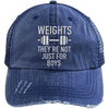Weights They're Not Just for Boys Distressed Trucker Cap Apparel CustomCat 6990 Distressed Unstructured Trucker Cap Navy/Navy One Size