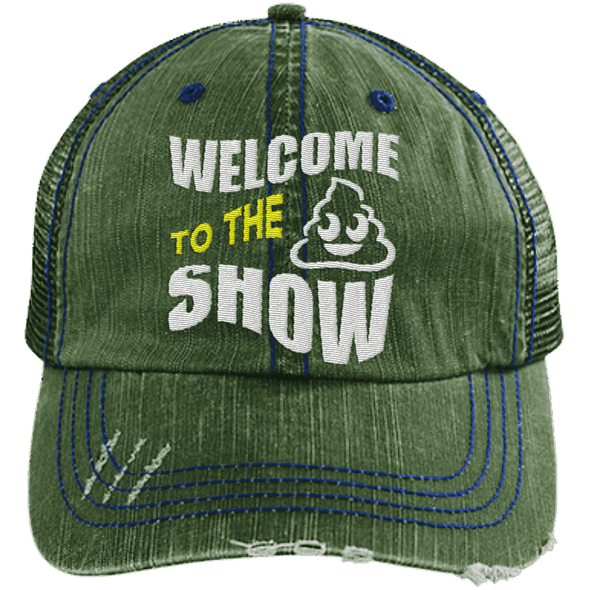 Welcome to the Shit Show Hats CustomCat Dark Green/Navy One Size
