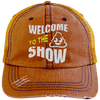 Welcome to the Shit Show Hats CustomCat Orange/Navy One Size