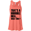 What Time? Apparel CustomCat Bella + Canvas Flowy Racerback Tank Coral X-Small