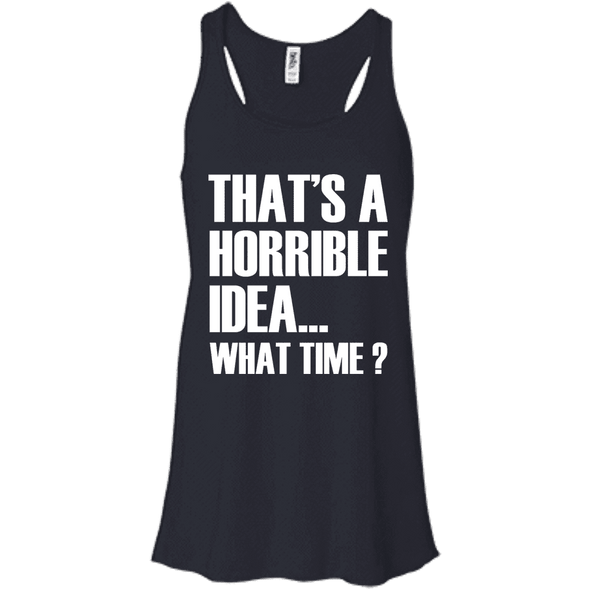 What Time? Apparel CustomCat Bella + Canvas Flowy Racerback Tank Midnight X-Small