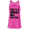 What Time? Apparel CustomCat Bella + Canvas Flowy Racerback Tank Neon Pink X-Small