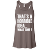 What Time? Apparel CustomCat Bella + Canvas Flowy Racerback Tank Pebble Brown X-Small