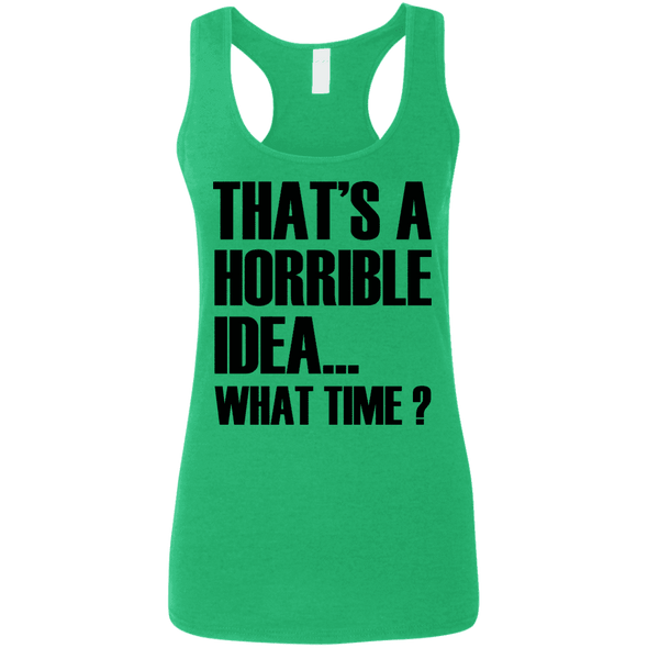What Time? (Softstyle Tank) Apparel CustomCat Ladies Softstyle Racerback Tank Heather Irish Green Small