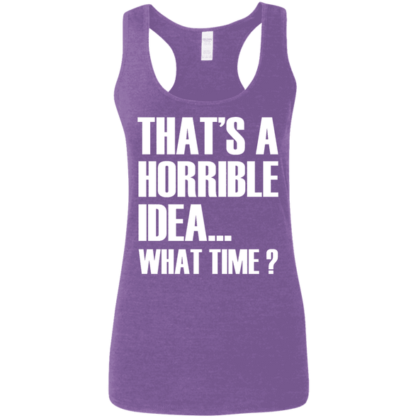What Time? (Softstyle Tank) Apparel CustomCat Ladies Softstyle Racerback Tank Heather Purple Small