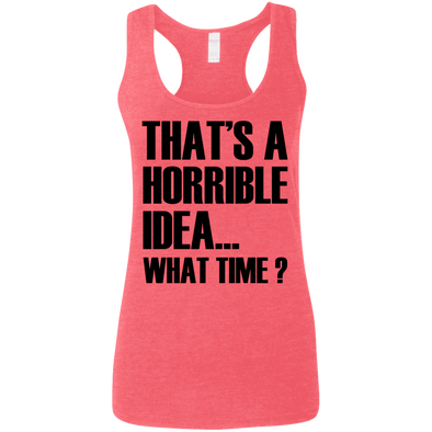 What Time? (Softstyle Tank) Apparel CustomCat Ladies Softstyle Racerback Tank Heather Red Small