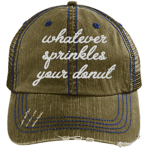 Whatever Sprinkles Your Donut Hats CustomCat Brown/Navy One Size