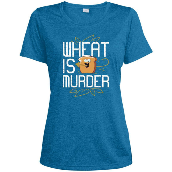 Wheat Is Murder Dri-fit Tee T-Shirts CustomCat Blue Wake Heather X-Small