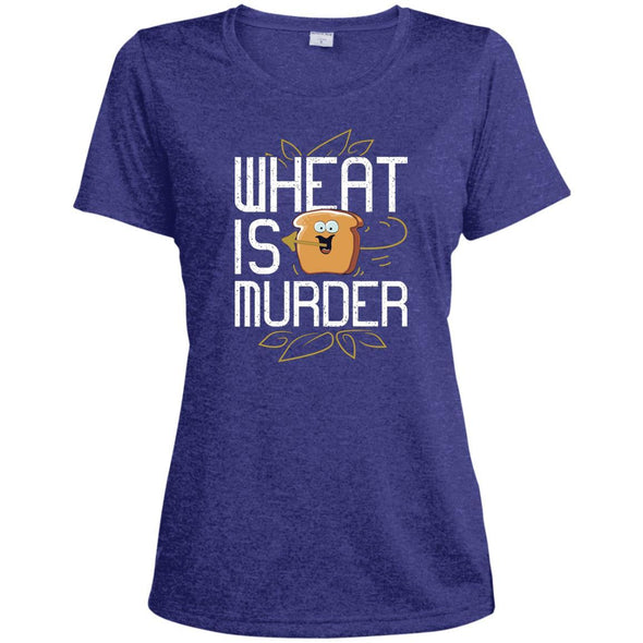 Wheat Is Murder Dri-fit Tee T-Shirts CustomCat Cobalt Heather X-Small