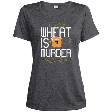 Wheat Is Murder Dri-fit Tee T-Shirts CustomCat Graphite Heather X-Small