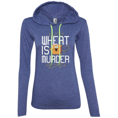 Wheat Is Murder Hoodie T-Shirts CustomCat Heather Blue/Neon Yellow S