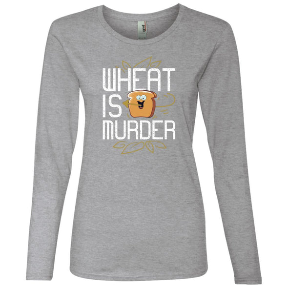 Wheat Is Murder Long Sleeve T-Shirts CustomCat Heather Grey S