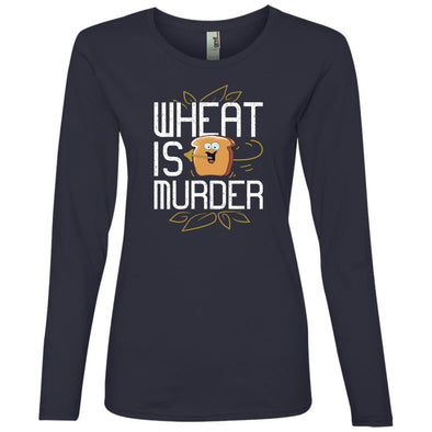 Wheat Is Murder Long Sleeve T-Shirts CustomCat Navy S