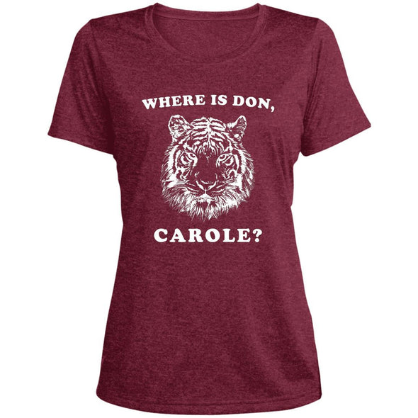 Where is Don, Carole? T-Shirts Apparel CustomCat Dri-Fit T-Shirt Cardinal Heather X-Small