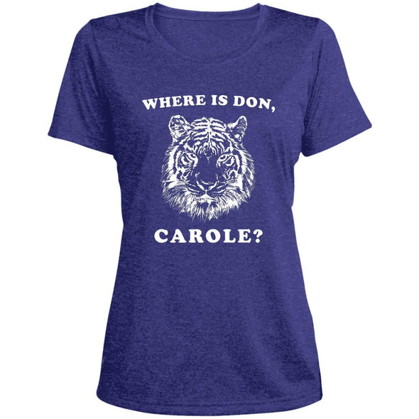 Where is Don, Carole? T-Shirts Apparel CustomCat Dri-Fit T-Shirt Cobalt Heather X-Small