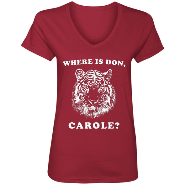 Where is Don, Carole? T-Shirts Apparel CustomCat V-Neck T-Shirt Independence Red S