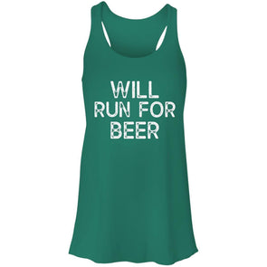 Will Run for Beer Flowy Tank T-Shirts CustomCat Kelly Green X-Small