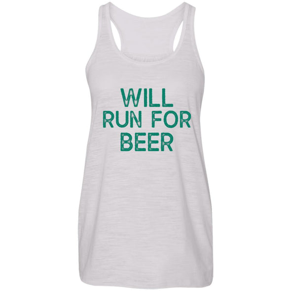 Will Run for Beer Flowy Tank T-Shirts CustomCat Vintage White X-Small