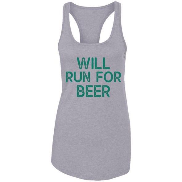 Will Run for Beer Ideal Racerback Tank T-Shirts CustomCat Heather Grey X-Small
