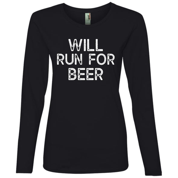 Will Run for Beer Long Sleeve T-Shirt T-Shirts CustomCat Black S