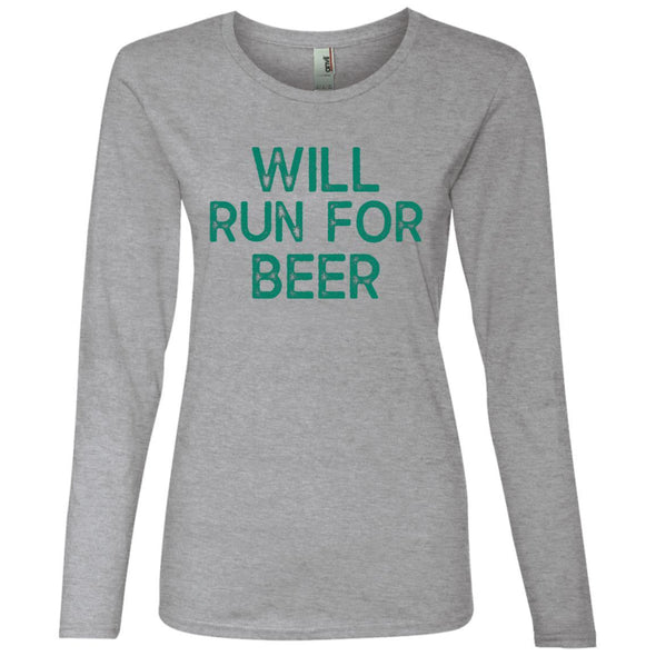 Will Run for Beer Long Sleeve T-Shirt T-Shirts CustomCat Heather Grey S