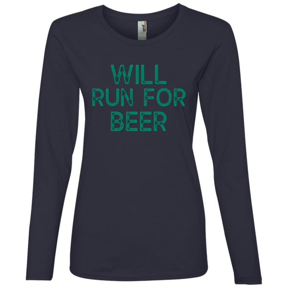 Will Run for Beer Long Sleeve T-Shirt T-Shirts CustomCat Navy S