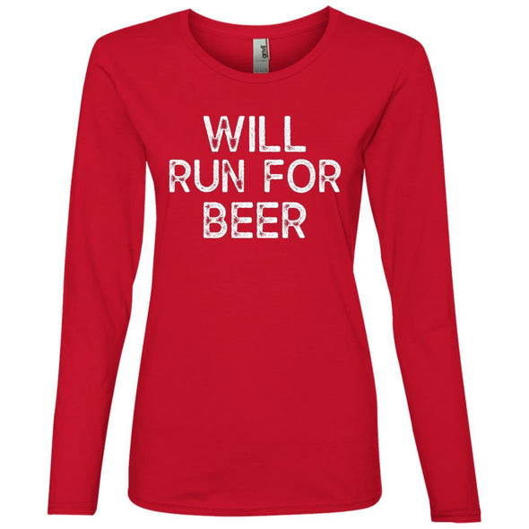 Will Run for Beer Long Sleeve T-Shirt T-Shirts CustomCat Red S