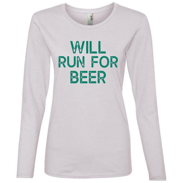 Will Run for Beer Long Sleeve T-Shirt T-Shirts CustomCat White S