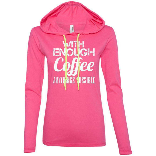 With Coffee Anythings Possible T-Shirts CustomCat Hot Pink/Neon Yellow S
