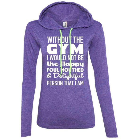 Without GYM T-Shirts CustomCat Heather Purple/Neon Yellow S
