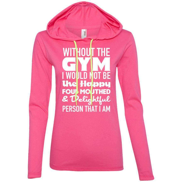 Without GYM T-Shirts CustomCat Hot Pink/Neon Yellow S