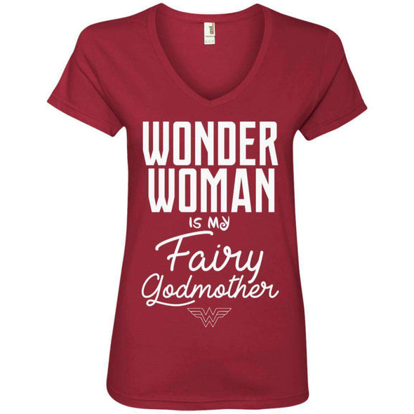 Wonder Woman is my Fairy Godmother Apparel CustomCat 88VL Anvil Ladies' V-Neck T-Shirt Independence Red S