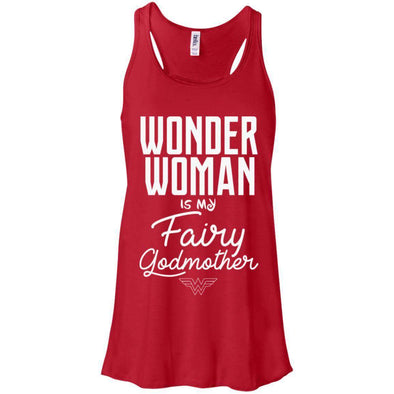Wonder Woman is my Fairy Godmother Apparel CustomCat B8800 Bella + Canvas Flowy Racerback Tank Red X-Small