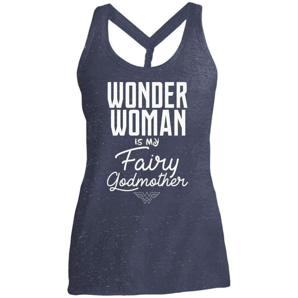 Wonder Woman is my Fairy Godmother Apparel CustomCat DM466 District Made Ladies Cosmic Twist Back Tank Navy/Royal Cosmic S