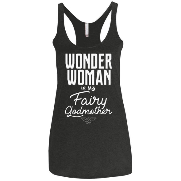 Wonder Woman is my Fairy Godmother Apparel CustomCat NL6733 Next Level Ladies' Triblend Racerback Tank Vintage Black X-Small