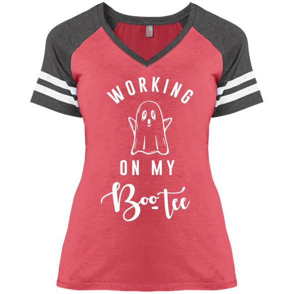 WORKING-ON-MY-BOOTY Apparel CustomCat District Ladies' Game V-Neck T-Shirt Heather Red/Heathered Charcoal X-Small
