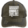 Workout Before Take Out Distressed Trucker Cap Apparel CustomCat 6990 Distressed Unstructured Trucker Cap Brown/Navy One Size