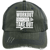 Workout Before Take Out Distressed Trucker Cap Apparel CustomCat 6990 Distressed Unstructured Trucker Cap Dark Green/Navy One Size