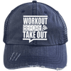 Workout Before Take Out Distressed Trucker Cap Apparel CustomCat 6990 Distressed Unstructured Trucker Cap Navy/Navy One Size