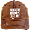 Workout Before Take Out Distressed Trucker Cap Apparel CustomCat 6990 Distressed Unstructured Trucker Cap Orange/Navy One Size