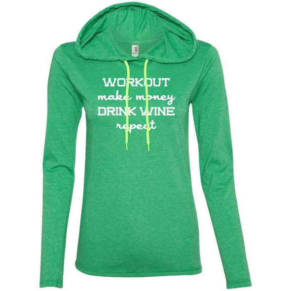 Workout Make Money Repeat T-Shirts CustomCat Heather Green/Neon Yellow S
