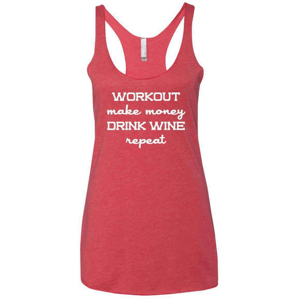 Workout Make Money Repeat T-Shirts CustomCat Vintage Red X-Small