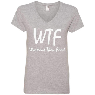 Workout Then Food T-Shirts CustomCat Heather Grey S
