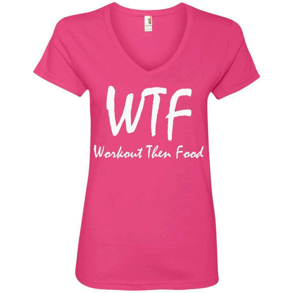 Workout Then Food T-Shirts CustomCat Hot Pink S