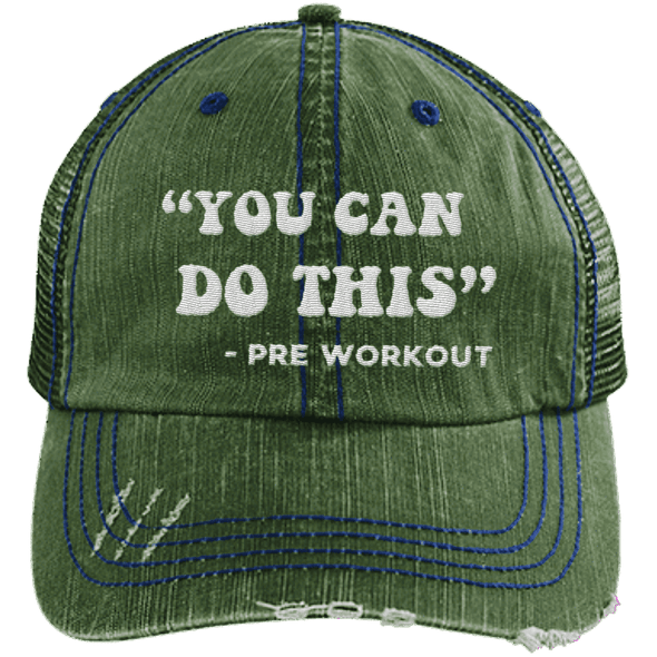 You Can Do This (Pre Workout) Hats CustomCat Dark Green/Navy One Size