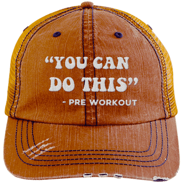 You Can Do This (Pre Workout) Hats CustomCat Orange/Navy One Size