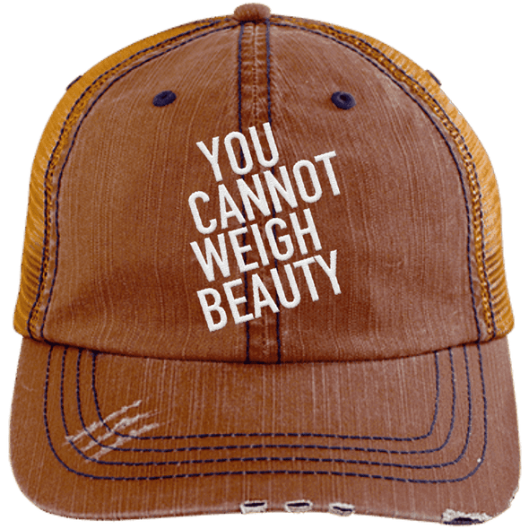 You Cannot Weigh Beauty Trucker Cap Apparel CustomCat 6990 Distressed Unstructured Trucker Cap Orange/Navy One Size
