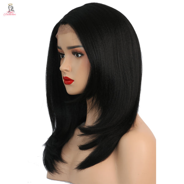 "14"" Kinky Straight Synthetic Lace Front Wig"
